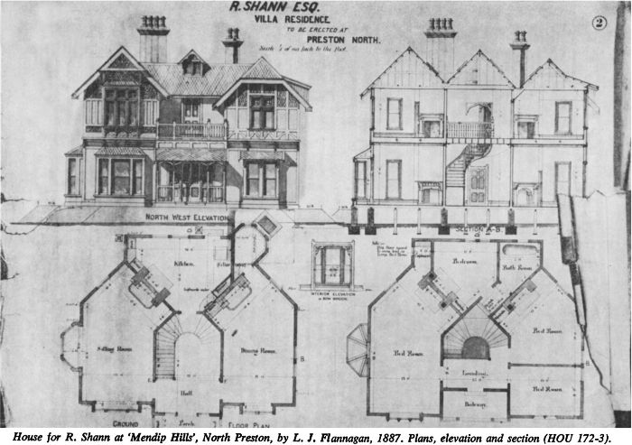 House for R. Shann at 'Mendip Hills', North Preston, by L. J. Flannagan, 1887.
