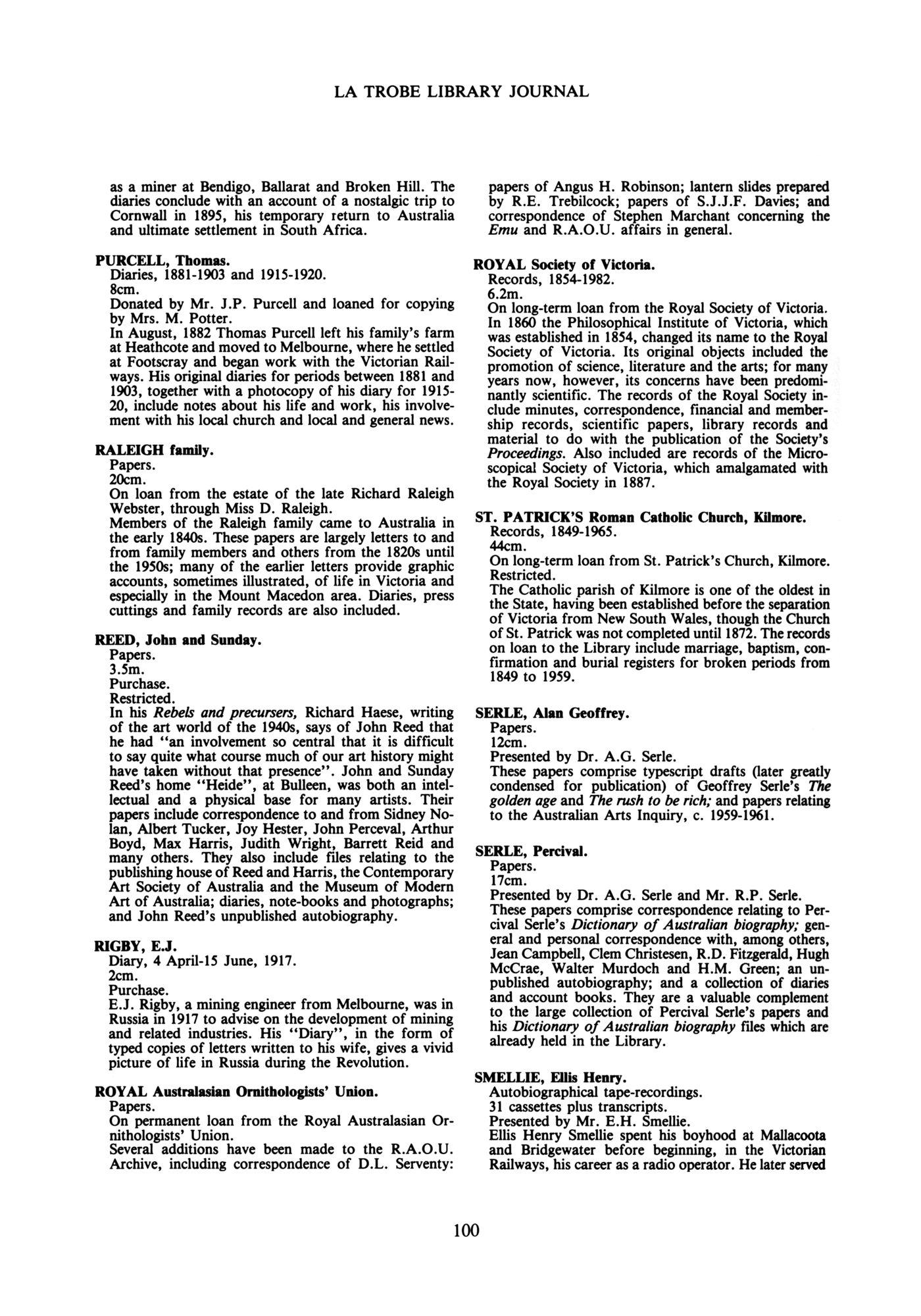 Page 100 - No 36 December 1985 - La Trobe Journal