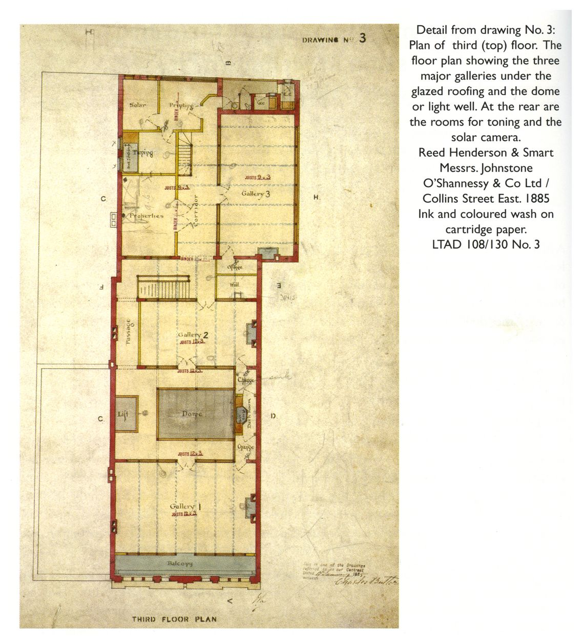 Detail from drawing No. 3: Plan of third (top) floor. The floor plan ...