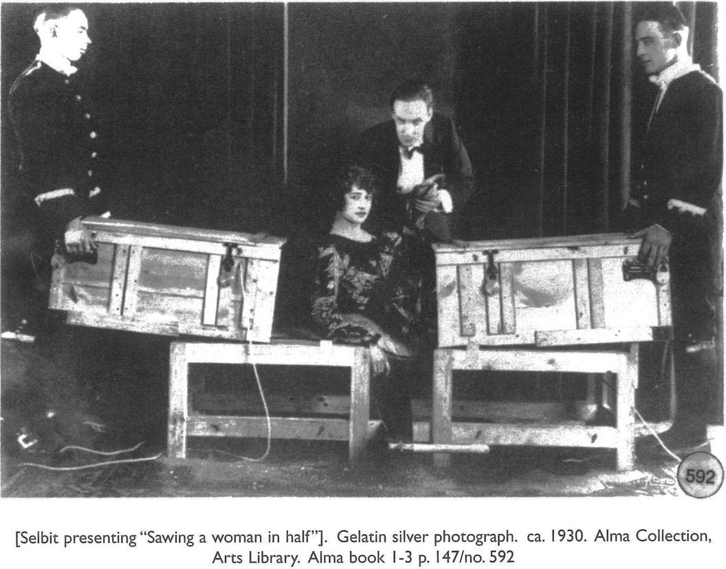 selbit presenting sawing a woman in half gelatin silver