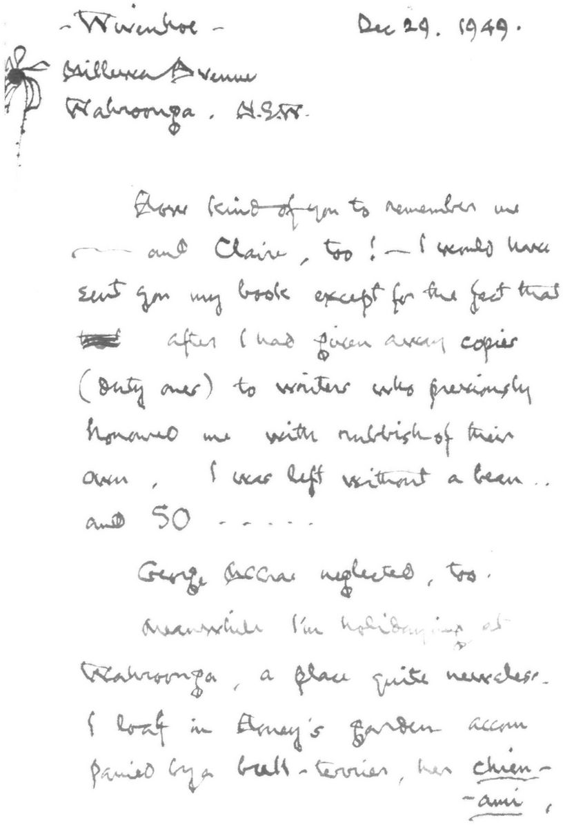 Letter To An Unknown Person From Hugh McCrae The Text Reads Wivenhoe Dec 29 1949